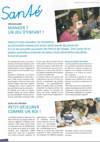 2016 Article sur les actions nutrition dans les périscolaires