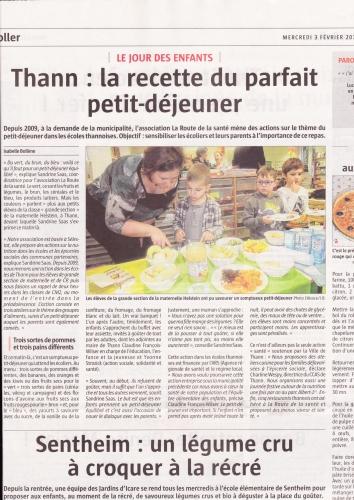 action nutrition sur les petits déjeuners dans les écoles primaires et maternelles de Thann